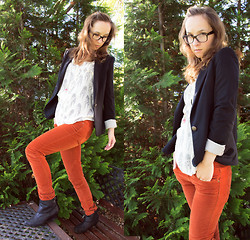 Iva K - Zara Pants, Zara Blazer, Zara Top, Ray Ban Glasses - Orange