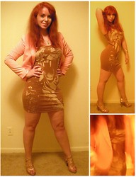 Kiki Marie - Charlotte Russe Gold Glitter Sandals, H&M Tiger Dress, Forever 21 Pink Jacket, H&M Gold Bangle - When the tiger broke free