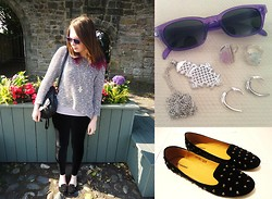○○✝Ashley Dolan✝○○ - Bikbok Grey Speckled Top, Topshop Lilac Top, Primark Black Backpack, Urban Outfitters Sunglasses, Dixi Rings, Topman Necklace, Topshop Earrings, Deichmann Spiked Shoes, Black Milk Clothing Velvet Leggings - Jack White- I'm Shakin'