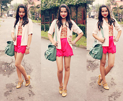 Rach Nathanielsz - Thrifted Floral Mid Rib Corset, Thrifted Baby Pink Blazer, Capital Vice Neon Pink Shorts, Pop Style Tan Ankle Boots, Sweetiepies Fox Ring - Bloom