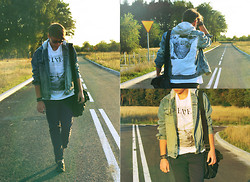 Kamil Łukasz Ignacy - Sh Pants, Carry T Shirt, H&M Shoes, Reserved Bag, Rms Bracelet, Newroads + Diy Jacket, Ny Sunglasses - Nowhere