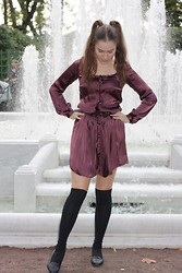 Kat Koroleva - Tara Jarmon Silk Dress, H&M Knee Socks, Stradivarius Slippers With Studs - No regrets, just love