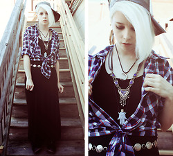 Kat W. - Waloosi's Emporium Crescent Necklace, Black Water Siren Coffin Nail Earrings, Thrifted Coin Belt, Sheinside Black Maxi, Arizona Jean Co. Men's Flannel, Billabong Califoria Love Trucker, Arizona Jean Co. Velvet Boots, Vanessa Mooney Azaria Diamond Necklace, The Magic Parlor, Salem Ma Hamsa Bottle - Take the elevator at the Hotel Yorba
