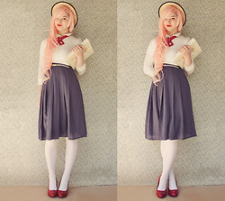 Annika Victoria - Lady Tie, Opaque White Tights, Boater Hat - Scholarly