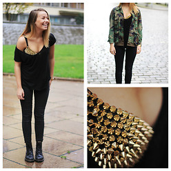 Emma Ward - Studded Bra, Secondhand Camo, Zara Perfect Tee, Dr. Martens Boots - Studded bra