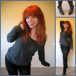 Kiki Marie - Thrifting Studded Boots, Gap Grey Sweater, Express Tights - Tried to justify the goth scene, but the relevance was low.
