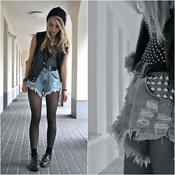 HELENA S - Runwaydreamz Shorts, Eden Girl Leather Vest, Dr. Martens Shoes - Sunday at the primary school