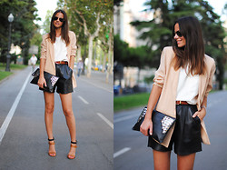 Zina CH - Vintage Leather Shorts, Zara Shoes - Leather & Studs