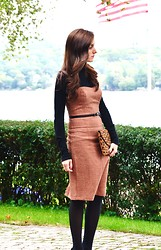 Margo Royle - Anthropologie Tweed Strapless Dress, Anthropologie Black Turtleneck, Hue Opaque Black Tights, J.Crew Leopard Clutch - Black and Tan