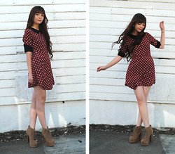 "Lily L - Wasteland Sf Polka Dot Dress, Jeffrey Campbell Tan Litas - ""Go on little girl, feet twirl..."""