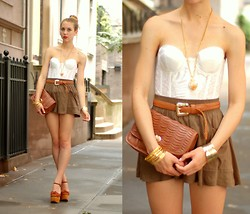 Jordana Lilly - Vintage White Bodice, Vintage Woven Belt - Upper East Side
