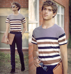 Adam Gallagher - H&M Tee, Envelope, Super Sunglasses - Stripes for the Season