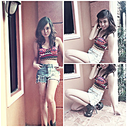 Yanna Dee - Where Did U Get That (Shop) Dyed Shorts, Where Did U Get That (Shop) Aztec Top, Thrifted Studded Leather Shoes - Aztec baby ♥