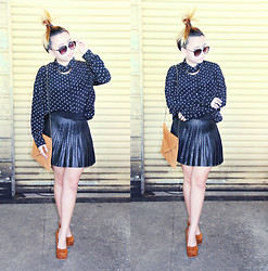 Patchie Valerio - Brandy Melville Usa Clutch/Bag, Forever 21 Pleather Skirt, Forever 21 Polkadot Polo, Forever 21 Gold Choker, Primadonna Wedge - DRESSING UP FOR FALL