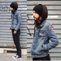 Tony Stone - H&M Denim Jacket, H&M Black Hoodie, Cheap Monday Black Denim, Converse Black Chucks, Relic Patch - Sunday ride