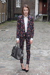 Ella Catliff - Topshop Paisley Trouser Suit, Zara Embellished Collar Blouse, Anya Hindmarch Silver Tote, Kurt Geiger Black Stilettos - London Fashion Week SS13, Day 4