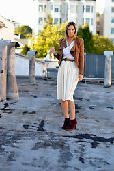 Amanda H. - Michael Kors Lace Up Booties, American Apparel Midi Skirt - White After Labor Day