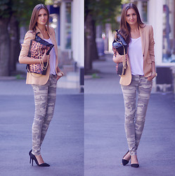 Nika H - Pull & Bear Pants, Vjstyle Bag - Camo Pants