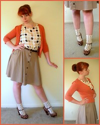 Kiki Marie - Macy's Orange Cardigan, Forever 21 Leopard Mary Janes, Target Spotted Socks, Forever 21 Polka Dot Blouse, Thrifting Khaki Skirt - If I had my way, I'd eat peaches every day.