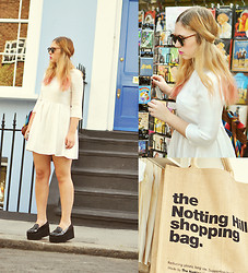 Amanda Brohman - Topshop White Dress, Office London Creepers - Notting Hill Is Full Of Blue Doors Right Across The Street
