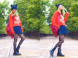 Mayu * - Wildfox Couture Knit, K3×Lee Skirt, Avantgarde Tights, Marc By Jacobs Bag, Phebely Knit Cap, Dr. Martens Shoes - School Girl