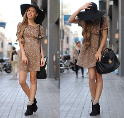 Laia N - The Music Collection Dress, Bershka Boots, H&M Hat, Fosco Bag - Before we go out, what's your address?