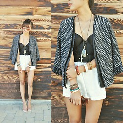 "Heliely Bermudez - Sugarlips Proper Properties Jacket, L.A. Intimates Silk Shorts, H&M Circle Sunglasses, Zara Laminated Strapped Heels - ""All Those Friendly People"""