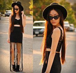 Jennifer Wang - Oasap Wide Brim Hat, Romwe Cat Eye Sunglasses, Chicnova Lace Bralette, Pacsun Fringe Maxi Skirt - APOCALYPSE PLEASE