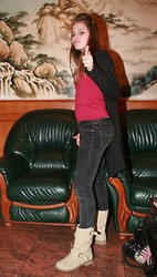 Tanya Wall - Market Cardigan, Mim Red Ti Shirt, Jennyfer Skinny Black Jeans Pants, Abloom Suede Biker Boots - Just simply and cool