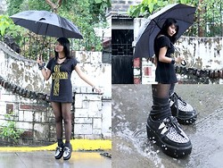 Janille Rose Olegario - Hossana Creepers, Sm Deparment Store Black Umbrella, Mint Black Shirt, Sm Department Store Black Stockings - Have a beautiful Rainy Days