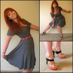 Kiki Marie - Rue 21 Striped Dress, Steve Madden Stacked Heels - Inspired by Count Chocula!