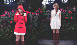 Laura Jude Hathaway - Vintage Red Pea Coat, H&M White Lace Dress, Ruche Tall Lace Up Riding Boots - Autumn Red Riding Hood