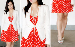 Faith Rodriguez - Forever 21 Polka Dot Flounced Dress, H&M Hook And Eye Blazer, Stradivarius Bow Peep Toe Pumps - A String Of Pearls