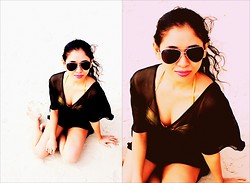 Katrina De Vela - H&M Black Cover Up, Forever 21 Aviator Sunnies, Jellybean Gold Haltered Piece - Lovin' the White Sand