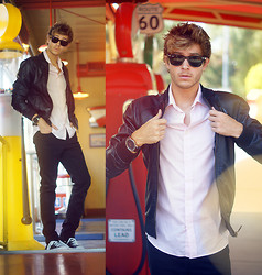 Adam Gallagher - Viparo Jacket, H&M Pink Shirt, Ray Ban Sunnies - Grease Inspired (+Video)