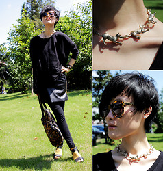 Wolfie Chen - Karen Walker Sunnies, Topshop Wolves Necklace, La Mer Collection Watch, Ljq Leggings With Zippered Leather Pieces, Brandstella Mccartney Sequin Tote - Meow & Woof · 秋天里,留个爪印