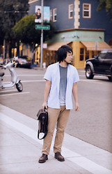 Jeff Me - Short Sleeve Shirt, Gap Ombre T, Dockers Alpha Khaki, Johnny Farah Leather Shoulder Bag, Dr. Martens 3989 Brogue Shoes - Hayes Street, San Francisco