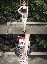 Dominique Marie Tiu - H&M Tribal Neon Bracelet, Supersale Bazaar Bracelets, Topshop Black Playsuit, Ruckus Accessories Gold Necklace, Yves Saint Laurent Black Clutch, Anne Smith Pink Belt, H&M Parrot Print Skirt, So Fab! Black Heels - I Whistle a Happy Tune