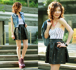Prisca E. - Diy Studded Denim Vest, Faux Leather Rivet Skirt, Lipsticks Print Bodice, H&M Neon Pink Necklace, Jeffrey Campbell Litas - A Dose of Rock & A Pop of Pink // DIY Studded Denim Vest