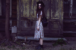 Violet Ell - Skirt, Thrift Store Crop Top, Thrift Store Hat, Thrift Store Leather Backpack, Thrift Store Sunglasses, Dr. Martens Boots - 05.07.2012