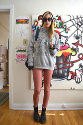 Savannah Scott - All Saints Pants, Spittlefield Market Sweater, Dr. Martens Boots, American Apparel Backpack - Character Sweater