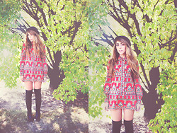 Laura Jude Hathaway - Vintage 60s Ethnic Print Dress, Vintage Mini Bowler, Urban Outfitters Thigh Highs - Stillness is the Move