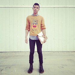 Mikey Anthony - Club Monaco L/S Button Down, Mes Ours Sweater, Club Monaco Clutch, Levi's® Black Skinnys, Burberry Prorsum Boots - 0025