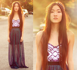 Jennifer Wang - Oasap Spiked Headband, Motel Rocks Purple Gothic Bodysuit, Oh My Frock Sparkly Maxi Skirt - URSULA