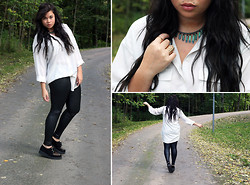 Sofia Nilsson - Gina Tricot Shirt, Grandmas Old Necklace, Bikbok Leather Pants, Have2have Creepers, Ring - Black & White with details