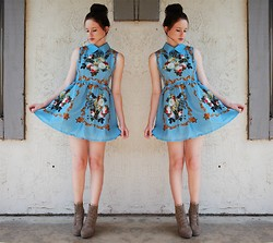 Miranda Grove - Retro Blue Dress, Urban Outfitters Taupe Ankle Boots - Lua