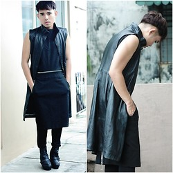 Karl Philip Leuterio - Anteprima Black Apron Dress, Costume National Black Vest, Comme Des Garçons Pants - Androgene