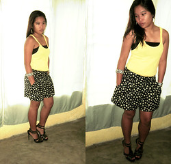 Jemille Cuison - Mango Mng Yellow Basic Tee, H&M H & M Sunflower Skirt Short, People Are People Heels - Beam me up