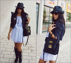 Sylvia SySy - Chiltern Bag, Graffic Dress, Only Jacket, H&M Black Hat - Black or White?