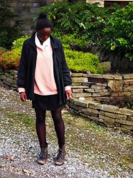 Olutosin K - Charity Shop Peach Knitted Jumper, Next Old Grey Coat, Primark Tights, Wallis Dress, River Island Military Boots - Hullabaloo